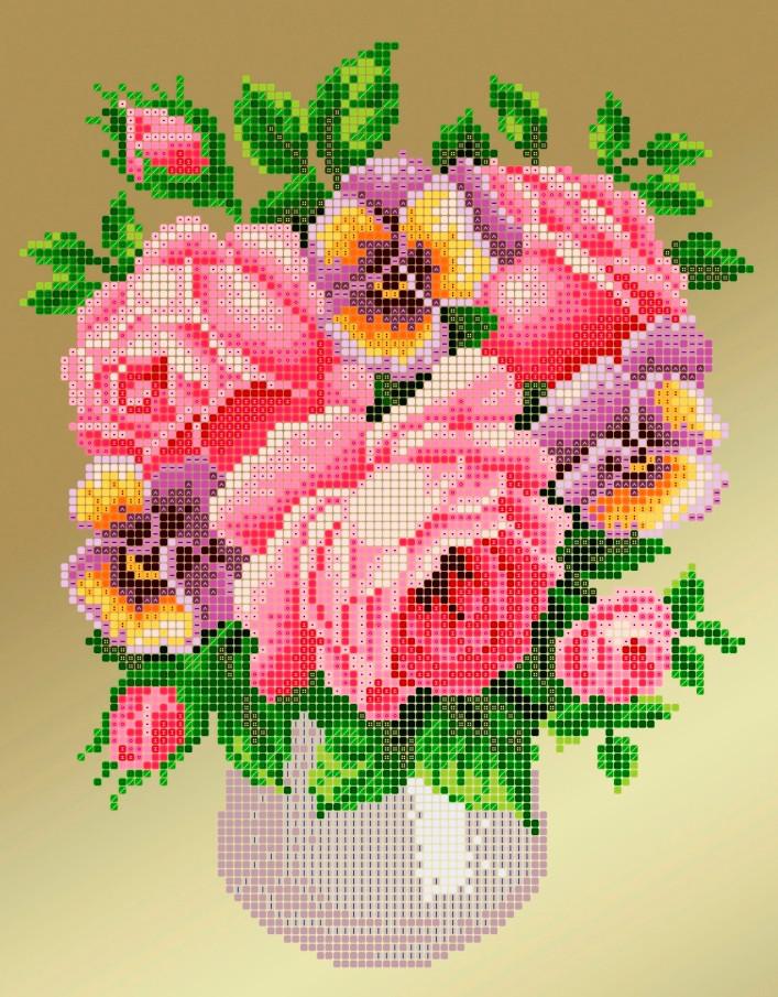 Схема для вышивки / вышивания бисером «Рожеві троянди» (A4) 20x25