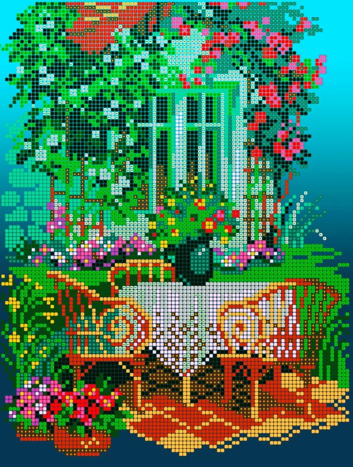 Схема для вышивки / вышивания бисером «Затишний дворик» (A4) 20x25