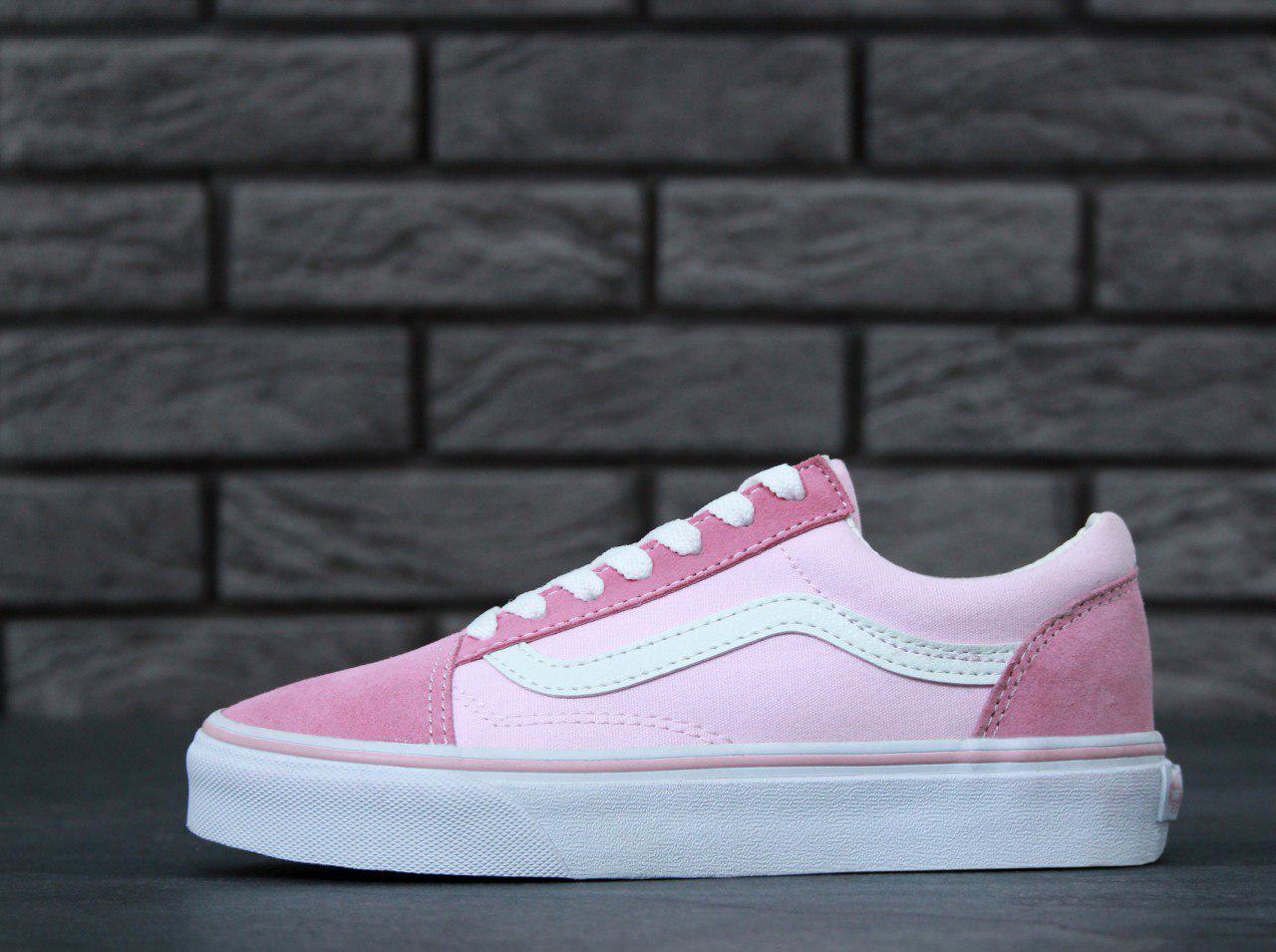 Кеды Vans Old Skool Pink White купить в Киеве и Украине! Интернет ... 06f7534ea6d