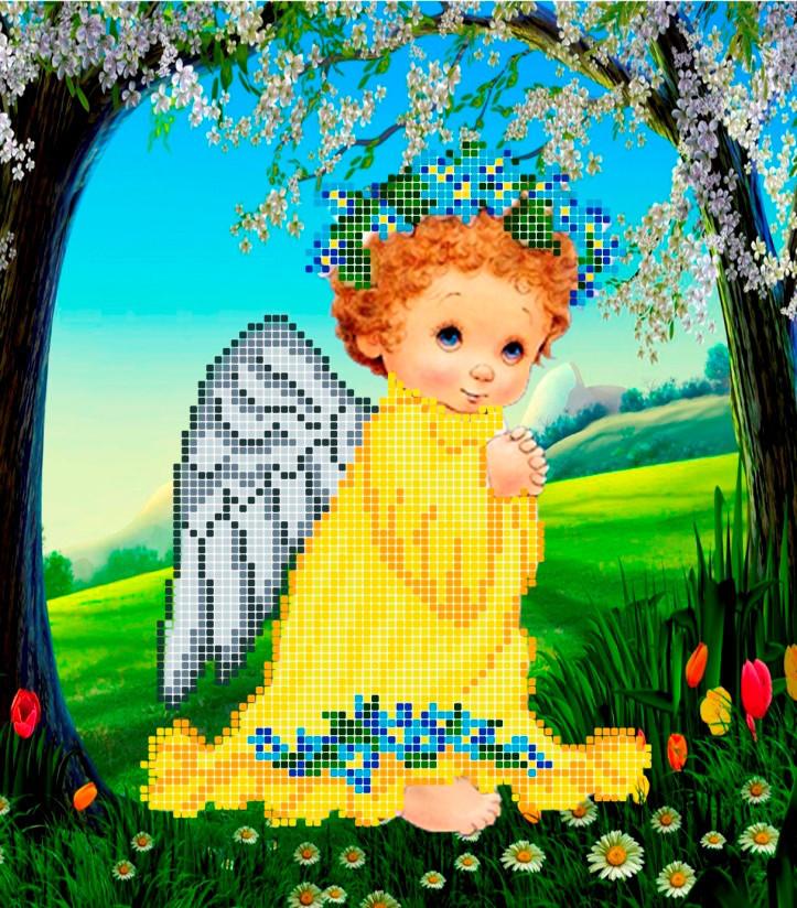 Схема для вышивки / вышивания бисером «Ангел з незабудками» (A4) 20x25