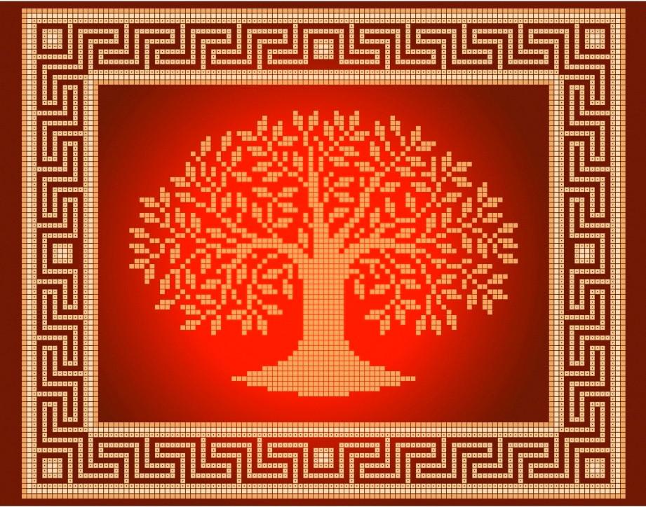 Схема для вышивки / вышивания бисером «Деревце» (A4) 20x25