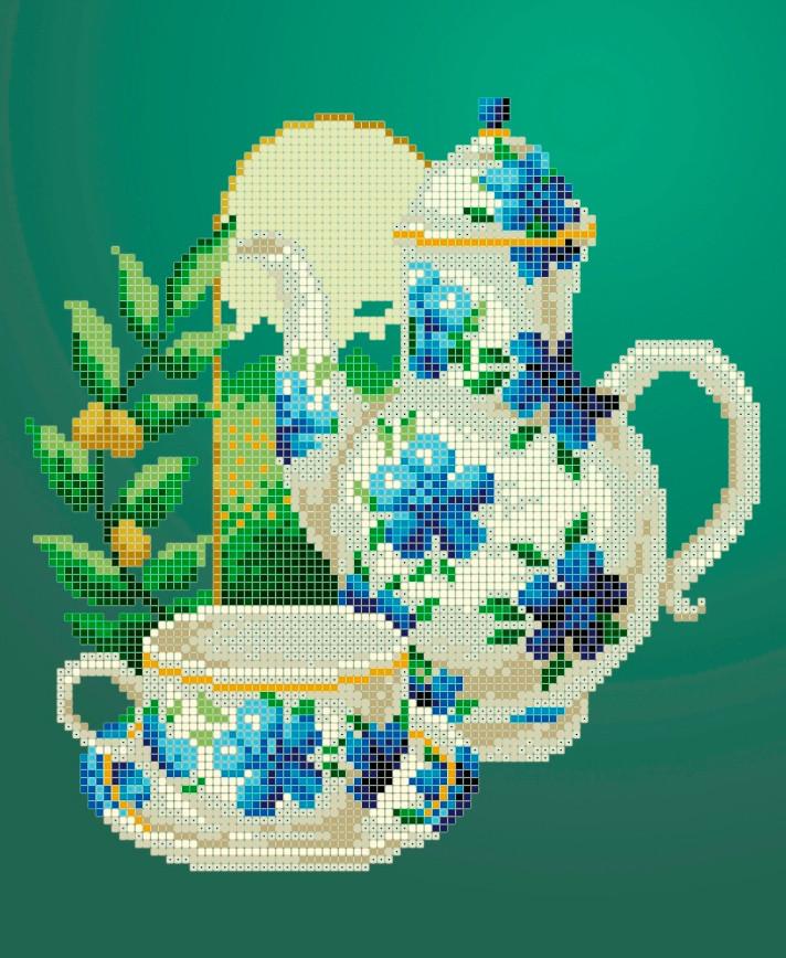 Схема для вышивки / вышивания бисером «Ранковий чай» (A4) 20x25