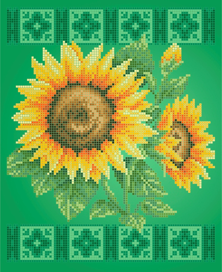 Схема для вышивки / вышивания бисером  «Подсолнух»  (A4) 20x25