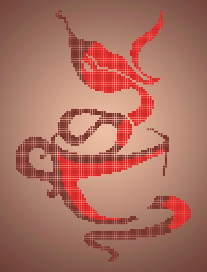 Схема для вышивки / вышивания бисером  «Зваблива кава»  (A4) 20x25
