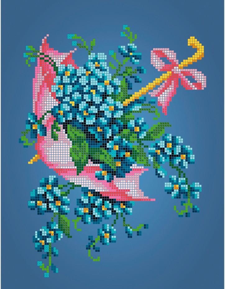 Схема для вышивки / вышивания бисером   «Рожевий зонтик»  (A4) 20x25