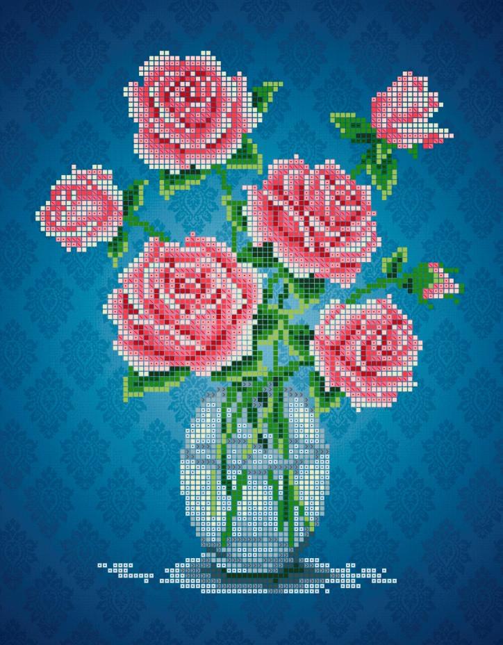 Схема для вышивки / вышивания бисером  «Троянди»  (A4) 20x25