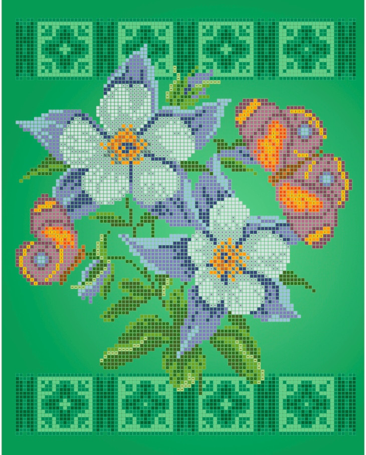 Схема для вышивки / вышивания бисером   «Метелики»  (A4) 20x25