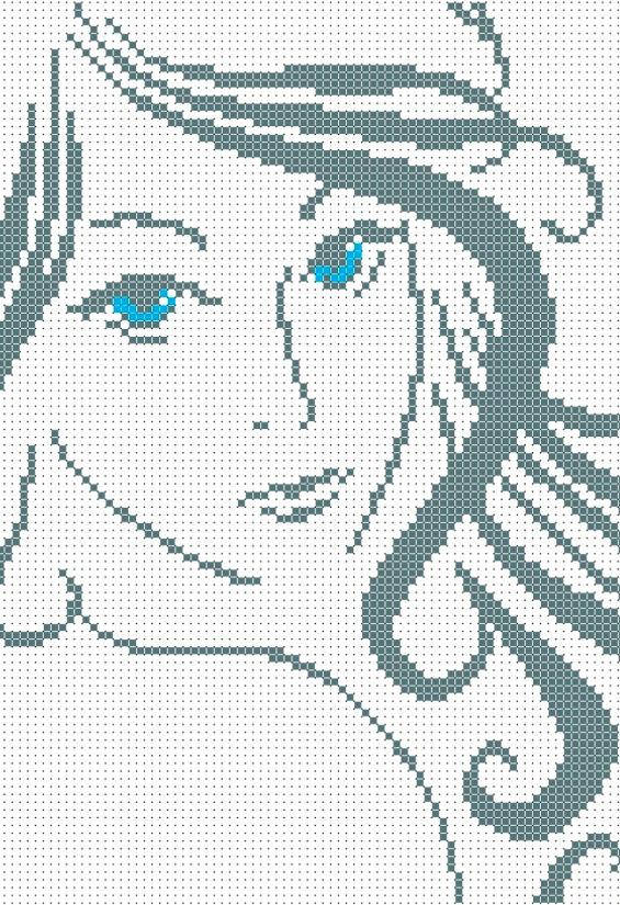 Схема для вышивки / вышивания бисером  «Погляд» (A4) 20x25