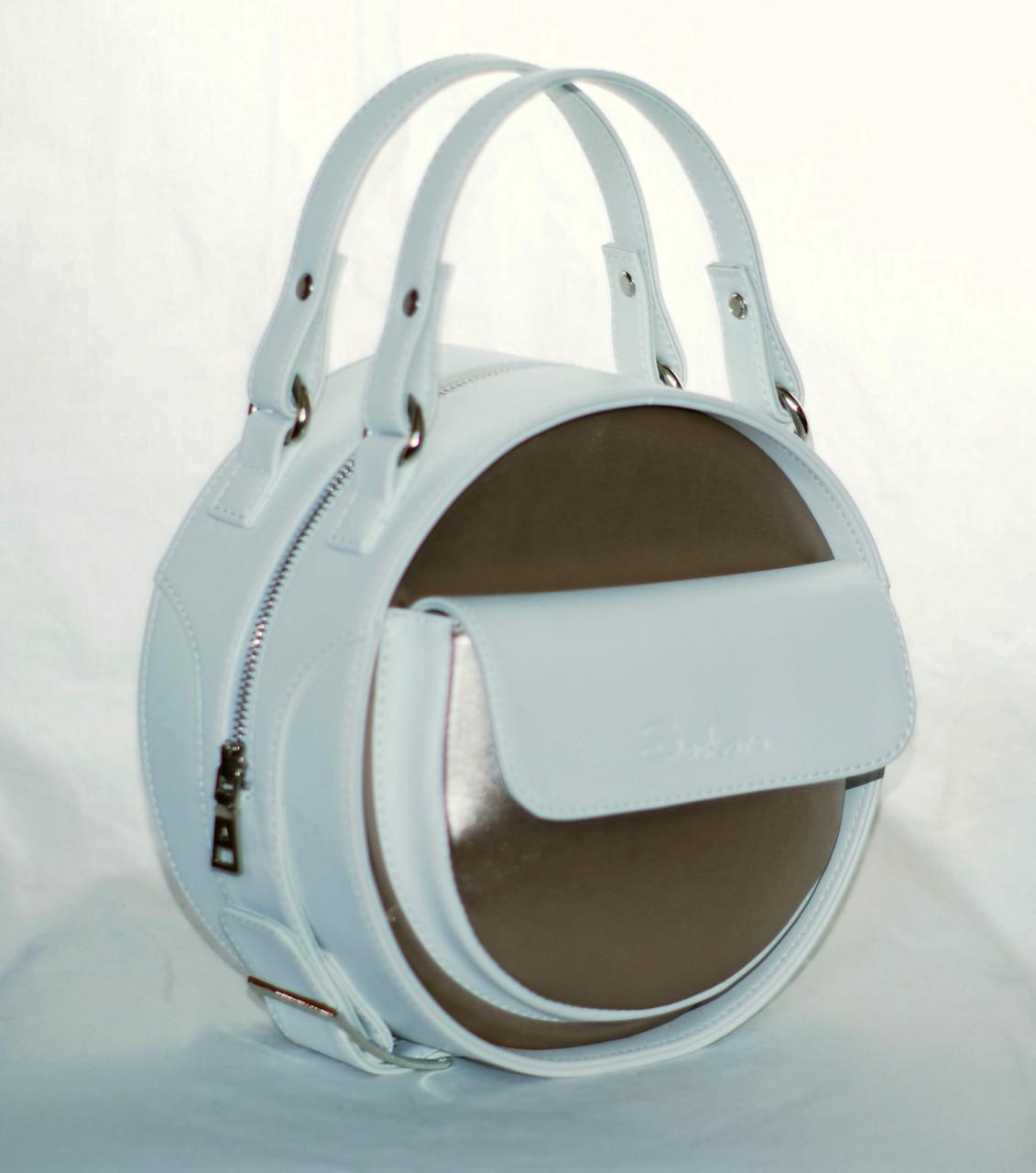 efcc84fa7bcf Женская, стильная, круглая белая с античным золотом сумка - Интернет-магазин