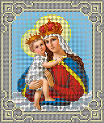Схема для вышивки / вышивания бисером «Мадонна з немовлям»Сіра рамка (A5) 15x18