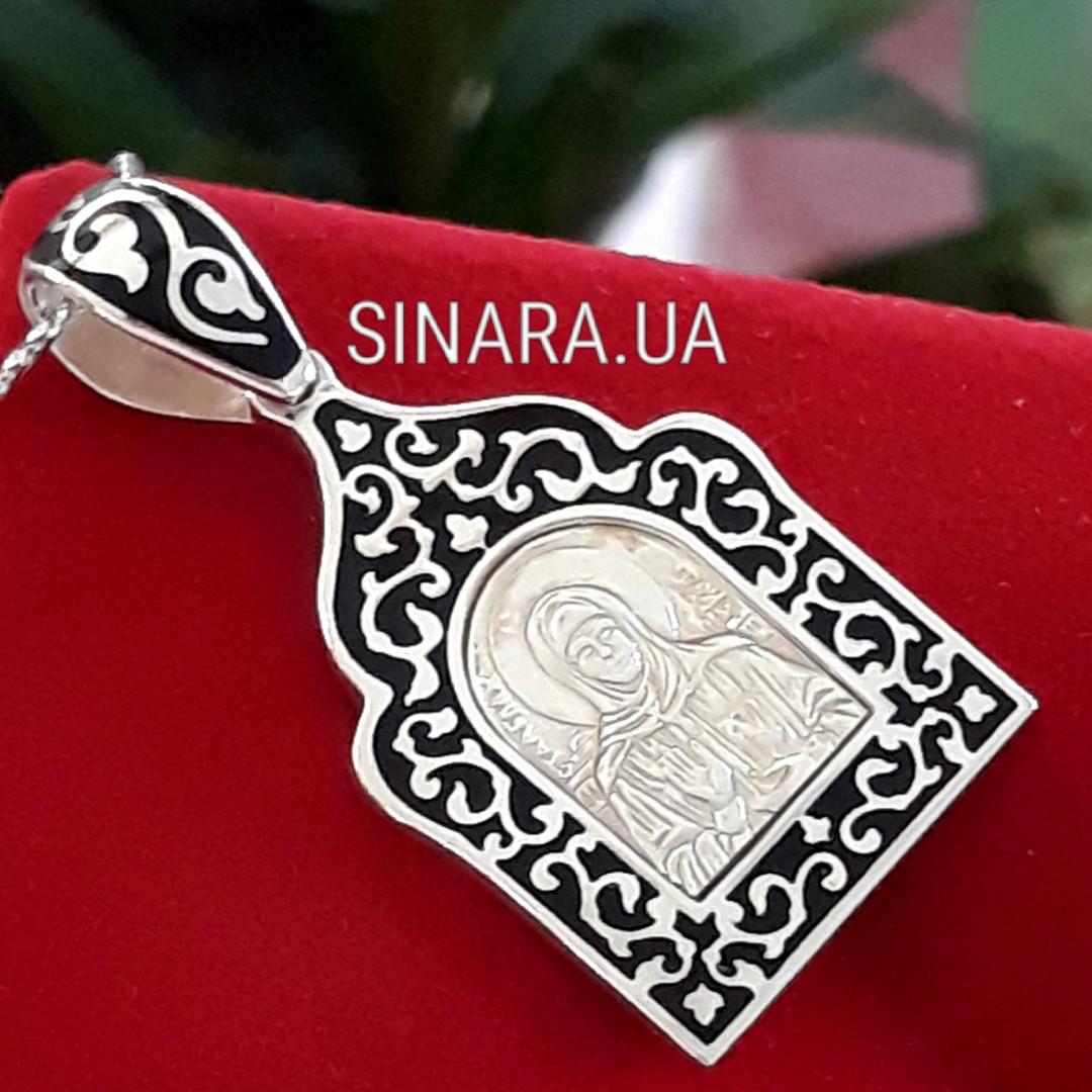 Кулон Святая Матрона серебро с эмалью - Серебряная иконка Святая Матрона
