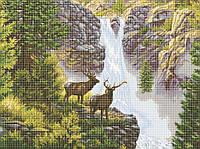 Схема для вышивки / вышивания бисером «Олені біля водоспаду» (A1) 60x80