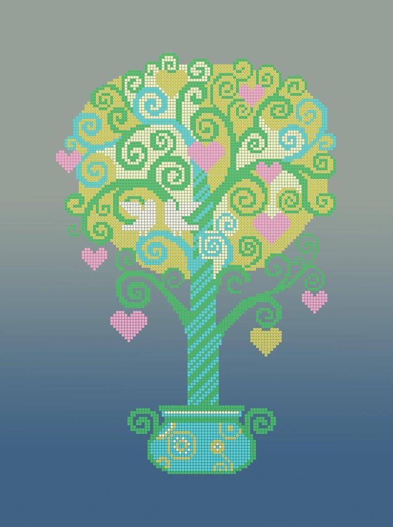 Схема для вышивки / вышивания бисером «Дерево кохання» (A3) 30x40