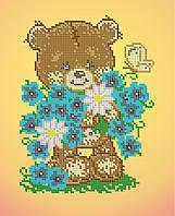Схема для вышивки / вышивания бисером «Ведмедик з незабудками» (A4) 20x25