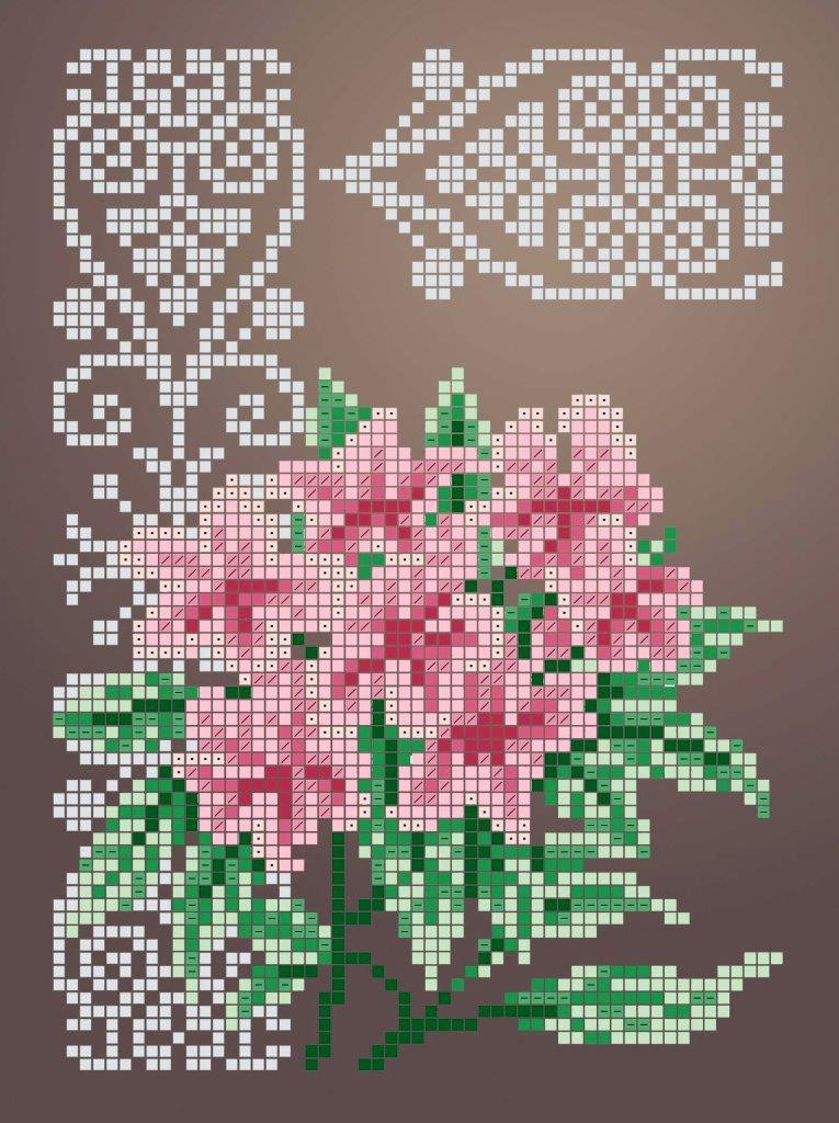 Схема для вышивки / вышивания бисером «Рододендрон» (A5) 15x18