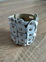 Белый плетеный браслет из кожи, фото 1