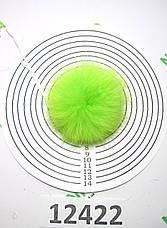 Меховой помпон Кролик, Неон Салат, 7 см, 12422, фото 3