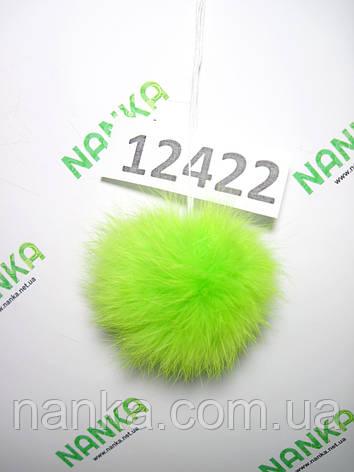 Меховой помпон Кролик, Неон Салат, 7 см, 12422, фото 2
