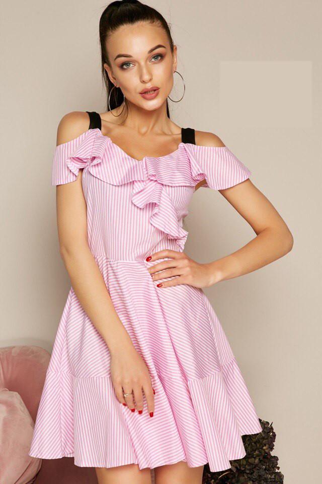 bf00ca3ea3e Летнее Полосатое Платье с Открытыми Плечами — в Категории