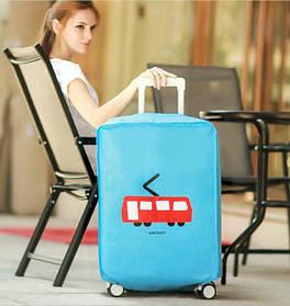 Голубой чехол на чемодан, защита от царапин и загрязнений
