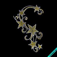 Термонаклейки из страз на клатчи Узор (Стекло,3мм-жел.,2мм-бел.)