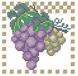 Схема для вышивки / вышивания бисером «Виноград» (A6) 10x15