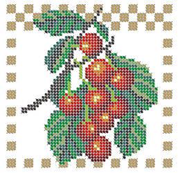 Схема для вышивки / вышивания бисером «Вишня» (A6) 10x15