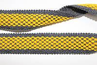Тесьма акрил 30мм (25м) т.серый+желтый, фото 1