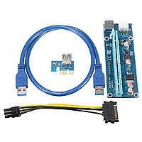 Адаптер-райзер PCE164P-N03 x1 to 16x. 60 см USB 3.0 Cable SATA to 6Pin Power ver.006С (PCE164P-N03 VER006C)