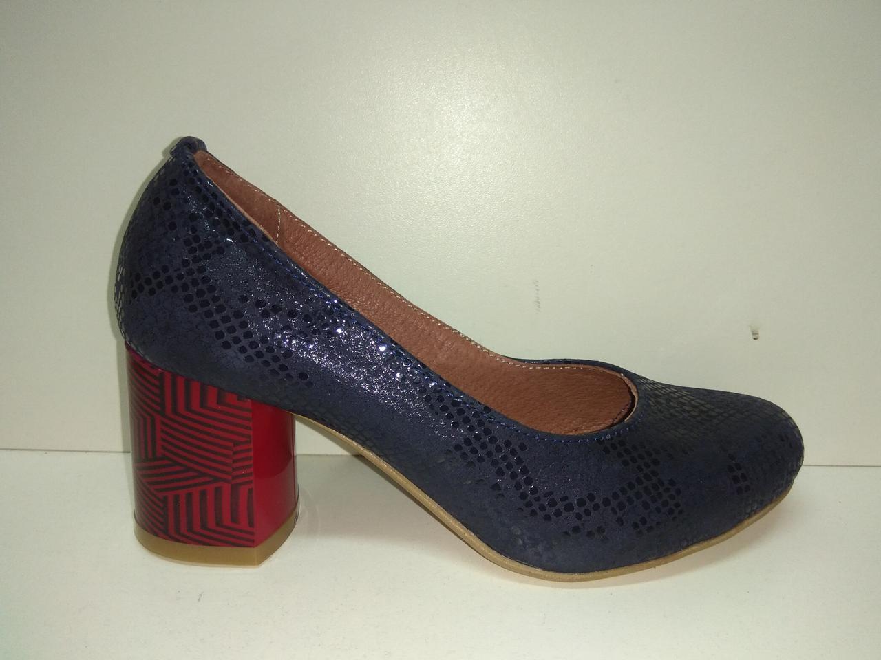 Туфли женские рр. 35-44 каблук 6 см натуральная кожа цвет синий размер 35 b2146cd351c