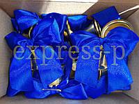 Колокольчики для первоклассников, выпускников школ и детских садов (d-35мм) с синей лентой