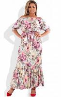 Красивое женское платье в пол с открытыми плечами размеры от XL ПБ-510