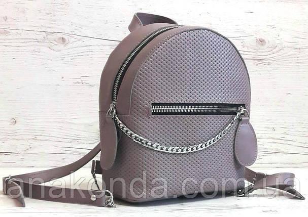 114-2 Натуральная кожа Городской рюкзак Кожаный рюкзак фиолетовый Рюкзак женский сиреневый рюкзак сиреневый, фото 2