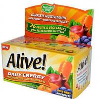 Alive! Натуральные витамины  для мужчин и женщин 60 таб для иммунитета сердца костей зрения Nature's Way USA