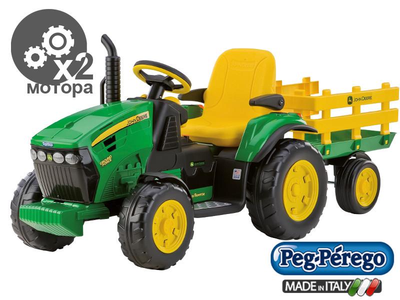 Детский Электромобиль Peg Perego трактор John Deere Ground Force 12V с прицепом, мощность 330W