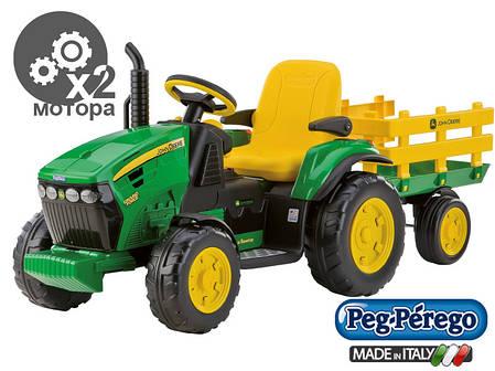 Детский Электромобиль Peg Perego трактор John Deere Ground Force 12V с прицепом, мощность 330W, фото 2