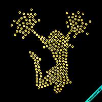 Декор на бейсболки Чирлидерша (Стекло,2мм-зол.), фото 1