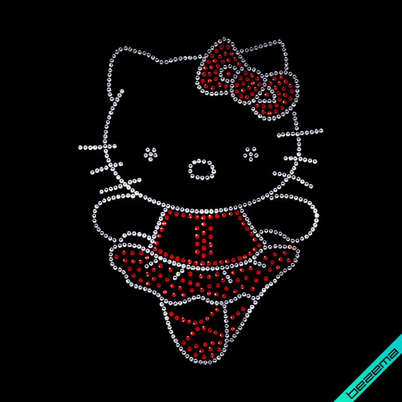Малюнки на взуття Hello Kitty (Скло,2мм-біл.,3мм-черв.)