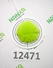 Меховой помпон Кролик, Неон Салат, 5 см, 12471, фото 2