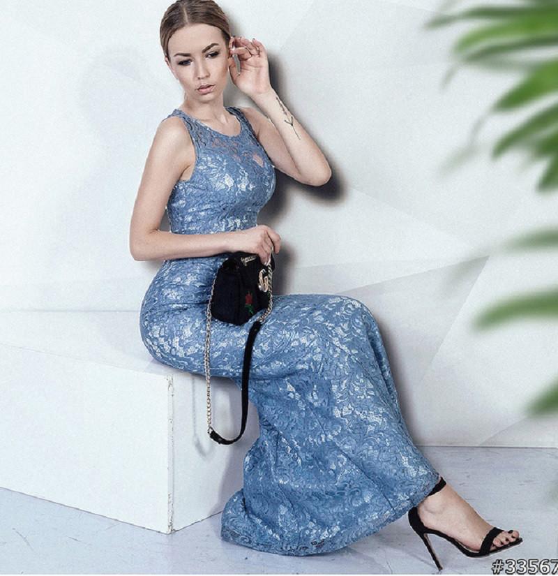 Длинное гипюровое платье в пол 33567 (42–48р) в расцветках
