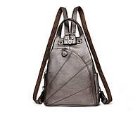 Рюкзак сумка женский городской треугольной формы (бронзовый), фото 1