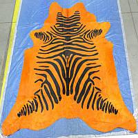 Зебра на оранжевом фоне бразильские крашенные  шкуры, фото 1