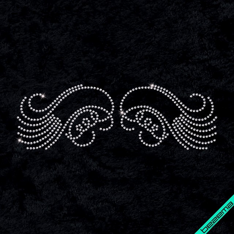 Стразы, аналог пайетки на шторы Узор крылья (Стекло,2мм-бел.)
