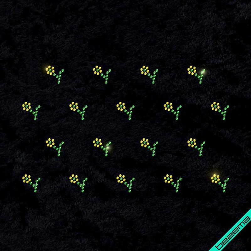 Термоаппликации на регланы Россыпь цветы (Стекло,2мм-зел.,2мм-жел.)