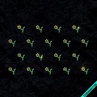 Термоаппликации на регланы Россыпь цветы (Стекло,2мм-зел.,2мм-жел.), фото 1