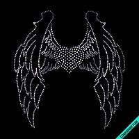 Рисунки из страз на бархат Сердце с крыльями (Стекло,2мм-бел.,3мм-бел.)