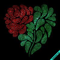 Термоаппликации из страз на фатин Роза (Стекло,2мм-красн.,2мм-зел.)
