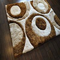 Шикарнейший коричнево белый теплый меховой долговечный ковер из самого мягкого меха Альпаки, фото 1