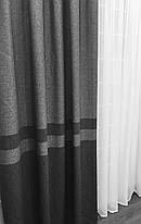 """Готовые Шторы Лен """"Севилья"""" Серый, пара, фото 2"""