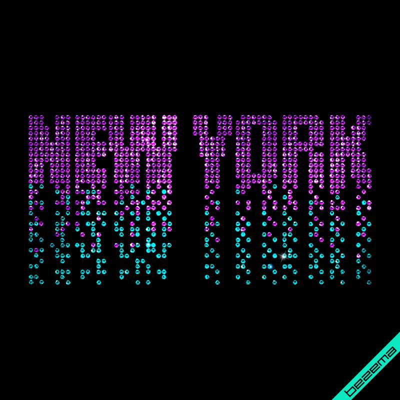 Термопечать на пуховики New York (Стекло,2мм-фиол.,2мм-ярк.гол.)